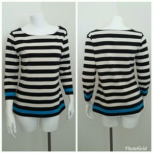 Ann Taylor Top Knit Blouse Small Striped Stretch